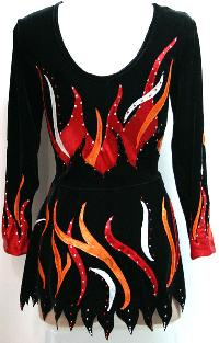 Rhythmic Leotard SDRL#1-Flames-Back Australia